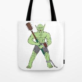 Orc Warrior Wielding Club Cartoon Tote Bag