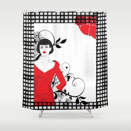 B&W+red Shower Curtain