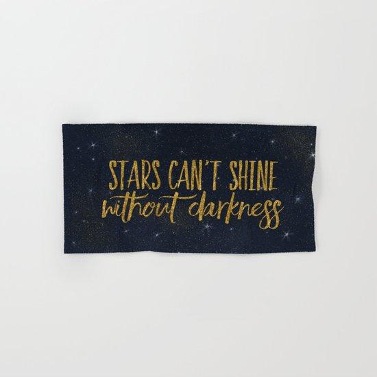 Stars- Darkness - sparkling gold glitter night typography 1 Hand & Bath Towel