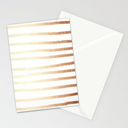 Simply Drawn Stripes Deep Bronze Amber Stationery Cards