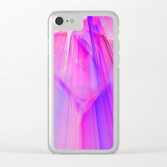 Pink sunset in the glowing city Clear iPhone Case