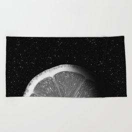 Waning Gibbous Lemon Moon Beach Towel