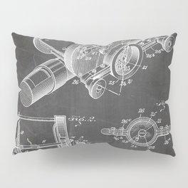 Fishing Reel Patent - Fishing Rod Art - Black Chalkboard Pillow Sham
