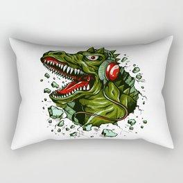 Dino with Headphones Brown Raw Umber Rectangular Pillow