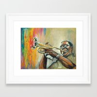 louis armstrong Framed Art Prints featuring Louis Armstrong by Draganmac