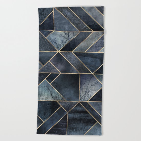 Abstract Nature - Dark Blue Beach Towel