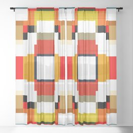 multicolored spatial geometric shellycoat Sheer Curtain