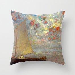 """Odilon Redon """"La Barque Aux Deux Femmes Blanches"""" Throw Pillow"""
