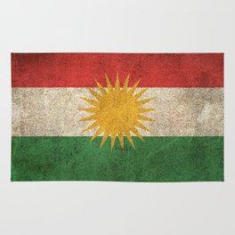 Old and Worn Distressed Vintage Flag of Kurdistan Rug