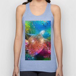 Sea Turtle In Living Color Unisex Tank Top