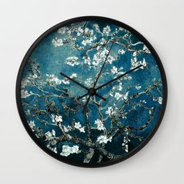 Van Gogh Almond Blossoms : Dark Teal Wall Clock