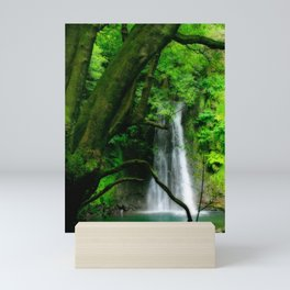 Waterfall in Azores islands Mini Art Print