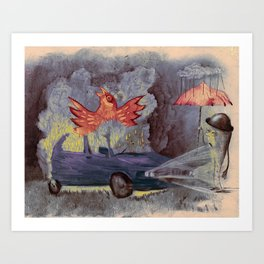 phenix in an old car Art Print