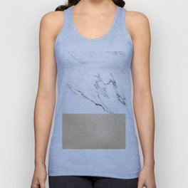 White Marble with Black and Copper Bronze Unisex Tank Top