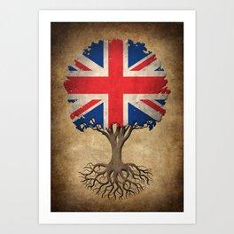 Vintage Tree of Life with Union Jack Flag of United Kingdom Art Print