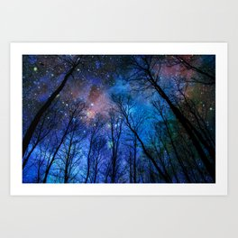 Black Trees Dark Blue Space Art Print