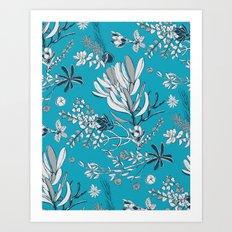 Cool Blue Cradle Flora Art Print