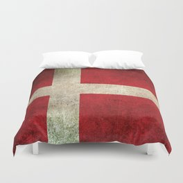Old and Worn Distressed Vintage Flag of Denmark Duvet Cover