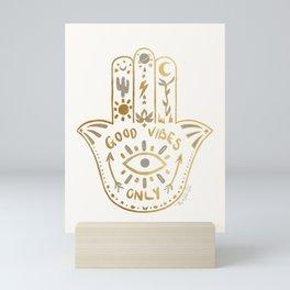 White Gold Hamsa Boho Good Vibes Only Symbol Mini Art Print