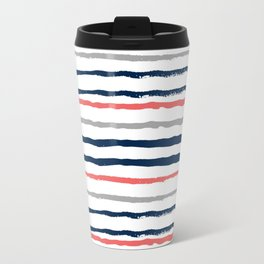 Minimal stripes painted stripe pattern navy modern trendy color palette nursery Travel Mug