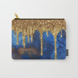 Gold Rain on Indigo Marble Carry-All Pouch