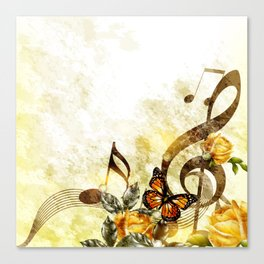 Butterfly Music Notes Canvas Print