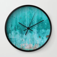 Weathered turquoise concrete wall texture Wall Clock