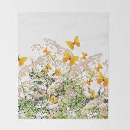 WHITE ART GARDEN ART OF YELLOW BUTTERFLIES Throw Blanket