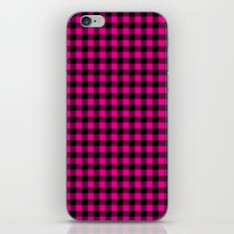 Classic Hot Pink Country Cottage Summer Buffalo Plaid iPhone Skin
