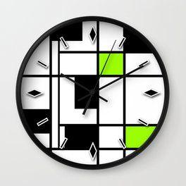 Abstract geometric modern shapes black white green neon colors Wall Clock