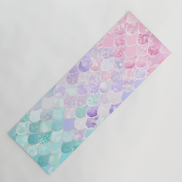 Cute Mermaid Pattern Light Pink Purple Teal Yoga Mat By Meganmorrisart Society6