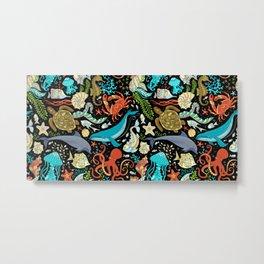 Underwater animals and plants pattern Metal Print