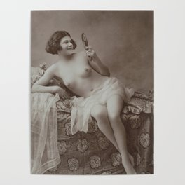 Victorian Vintage Posing Lady Erotic French Looking in Mirror Poster