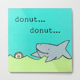 Shark Chasing Donut Metal Print