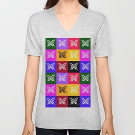 Butterfly drawings- if you look carefully, you'll find the hummingbirds that I drew in their wings Unisex V-Neck