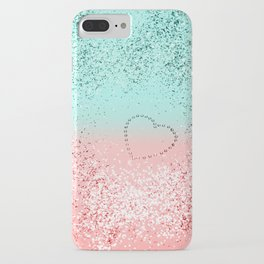 Summer Vibes Glitter Heart #1 #coral #mint #shiny #decor #art #society6 iPhone Case