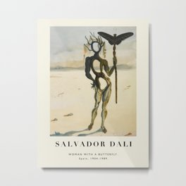 Vintage poster-Salvador Dali-Woman with a butterfly 2 .  Metal Print