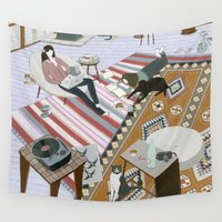 sisters Wall Tapestries featuring Sisters Room by Yuliya