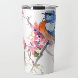 Bluebird and Cherry Blossom Travel Mug