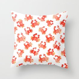 Red Crabs in Japanese watercolors Throw Pillow
