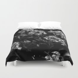 Stopping to Smell the Flowers at the Top of the Mountain Black & White Duvet Cover