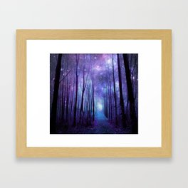 Fantasy Forest Path Icy Violet Blue Framed Art Print