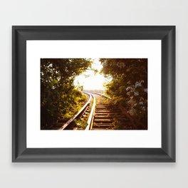 Railroad Tracks - Sunset - New York City Framed Art Print