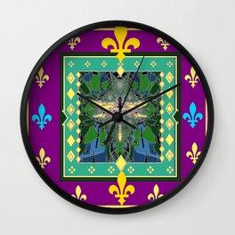 Yellow Dragonfly Purple Fleur de Lys Abstract Wall Clock