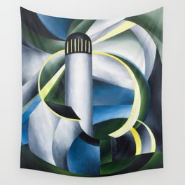 Variation on a Lighthouse landscape painting by Ida O'Keeffe Wall Tapestry