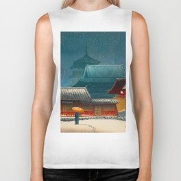 Vintage Japanese Woodblock Print Japanese Red Shinto Shrine Pagoda Winter Snow Biker Tank