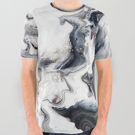 Marble B/W/G All Over Graphic Tee