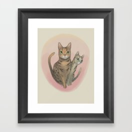 Two Bengal Cats Staring Framed Art Print