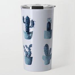 One cactus six cacti in indigo blue Travel Mug