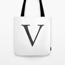 Letter V Initial Monogram Black and White Tote Bag